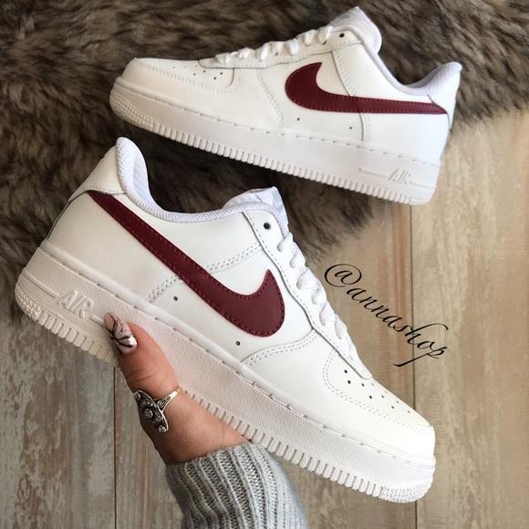100% authentic 37f39 52473 NWT Nike ID Custom Air Force 1 maroon Swoosh